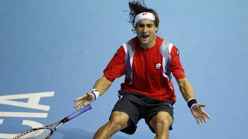 David Ferrer celebrates after winning the match-point in Valencia