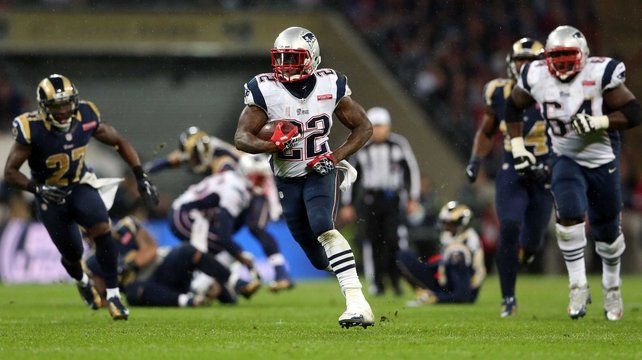 Stevan Ridley gaining yards for the New England Patriots at Wembley Stadium