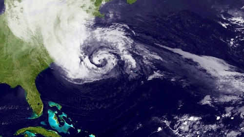 A satellite image of the hurricane off the US coast