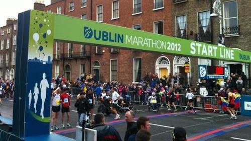 Runners prepare for the marathon