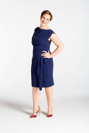 Navy cowl neck dress, Coast at Arnotts €160, Pink and red patent heels KG Kurt Geiger at Arnotts €280, Emerald green stud earrings, Loulerie €119, Green patent clutch Olga Berg at Chica €40