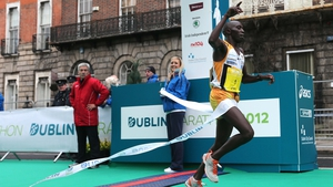 Ndungu breaks the winning tape to record another success on the streets of Dublin