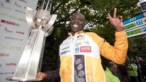 Ndungu with the winning trophy afterwards