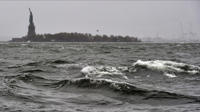 High surf on the Hudson River near the Statue of Liberty