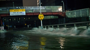 Water rushes into the Carey Tunnel (previously the Brooklyn Battery Tunnel) in New York