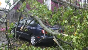 A fallen tree rests on top of a car in the Cliffwood Beach area of Aberdeen in New Jersey