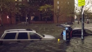 Vehicles were submerged in flood waters on 14th Street
