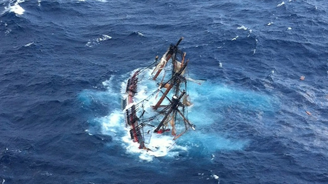 The HMS Bounty, a 180-foot sailboat, is submerged in the Atlantic Ocean