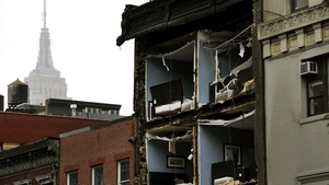 The facade was ripped off an apartment building in the Chelsea area of the city