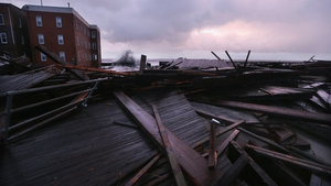 Sections of an old boardwalk were destroyed in Atlantic City