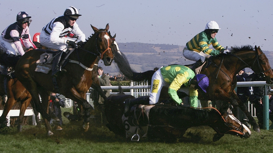 A parting of the ways for R Walsh and Kauto in the 2006 Champion Chase at Cheltenham