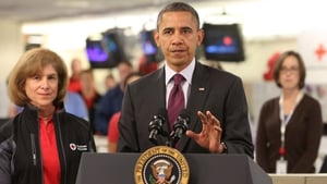 Barack Obama speaks at the Red Cross headquarters about ongoing relief in the wake of Hurricane Sandy