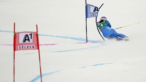 Tina Maze of Slovenia competes in the FIS Alpine Ski World Cup Women's Giant Slalom in Austria
