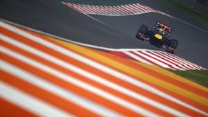 Sebastian Vettel seen here during practice for the Indian Grand Prix