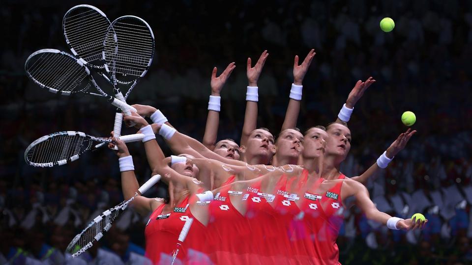 Agnieszka Radwanska of Poland serves during day four of the TEB BNP Paribas WTA Championships