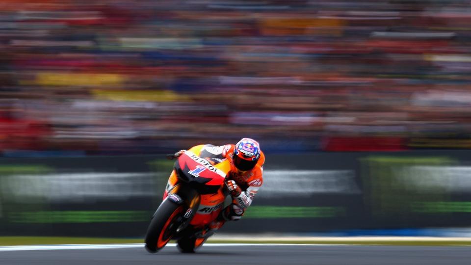 Casey Stoner of Australia rides in the Australian MotoGP