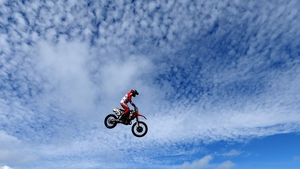 Australian motorcross rider Chad Reed flies above the circuit at Phillip Island