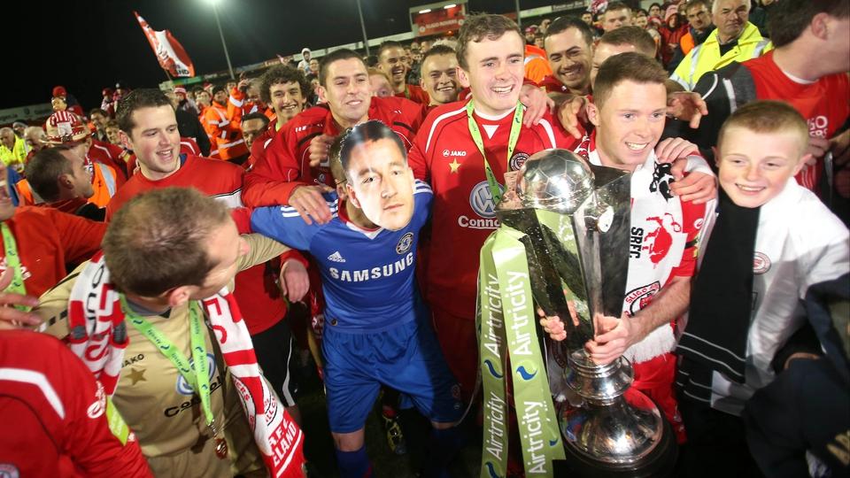 Sligo's Iarfhlaith Davoren - seen here dressed as John Terry - celebrates Rovers' title win