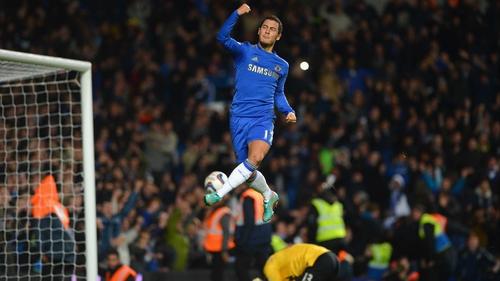 Edin Hazard celebrates his goal as Chelsea beat Manchester United at Stamford Bridge on Wednesday night