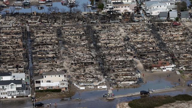 The remains of homes in Breezy Point, an estate in the Queens borough of New York City