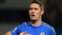 Chelsea defender Gary Cahill gives his reaction to their league cup win over Man United