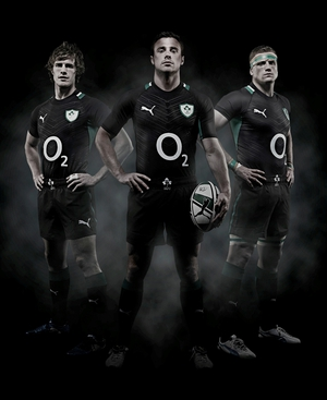 Andrew Trimble, Tommy Bowe and Jamie Heaslip wearing the new jersey