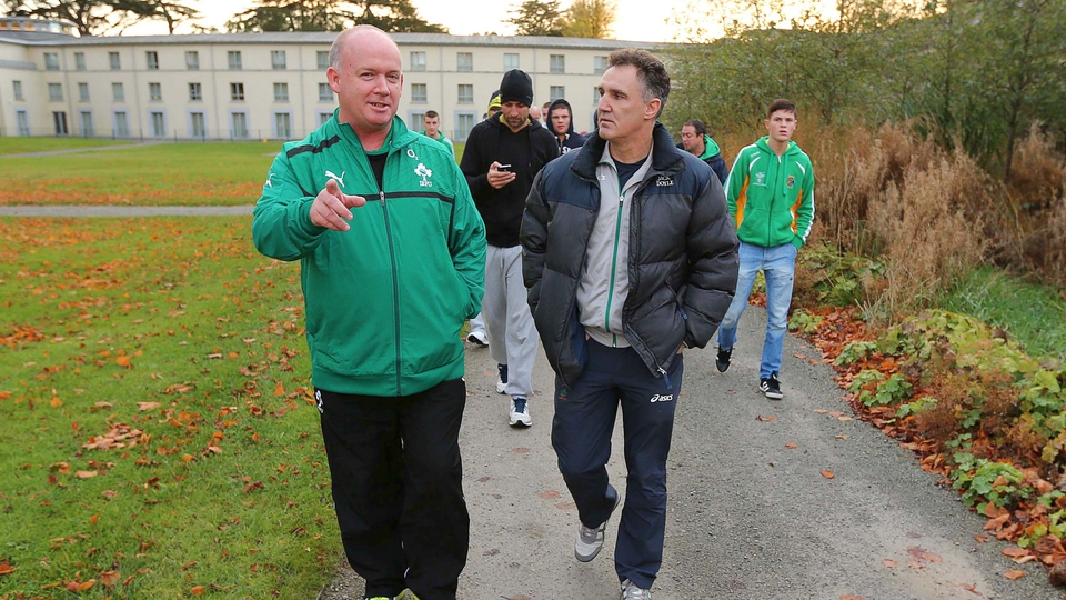 Ireland rugby head coach Declan Kidney and Ireland boxing high performance head coach Billy Walsh chew the fat