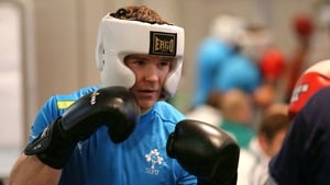 Gordon D'Arcy gets some advice on his boxing stance