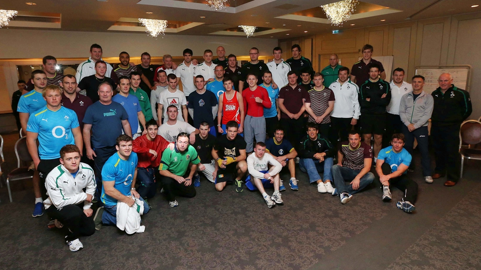Both Ireland squads pose for a group photograph