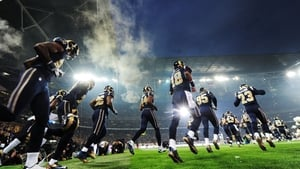 St Louis Rams players take to the field before their NFL clash with the New England Patriots at Wembley Stadium in London