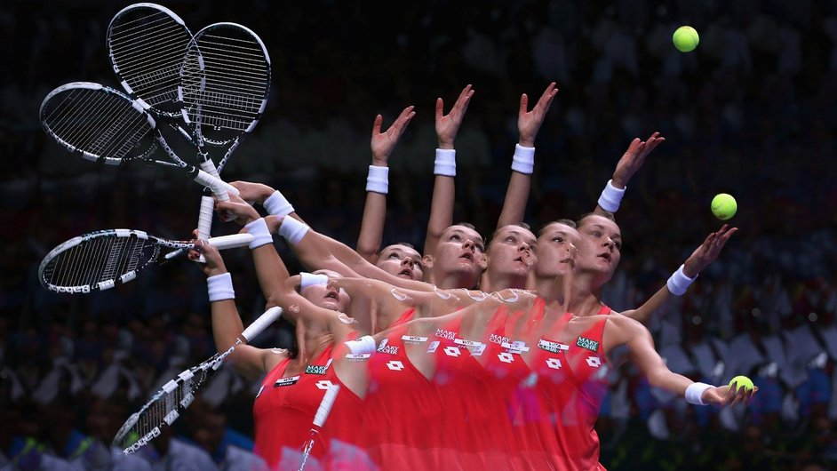 Agnieszka Radwanska serves to Sara Errani at the season-ending TEB BNP Paribas WTA Championships Tennis in Istanbul