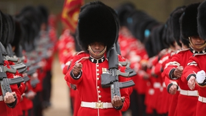 Guardsmen take their position before a ceremonial welcome in Horse Guards Parade in London at the start of a state visit by Indonesian President Susilo Bambang Yudhoyono