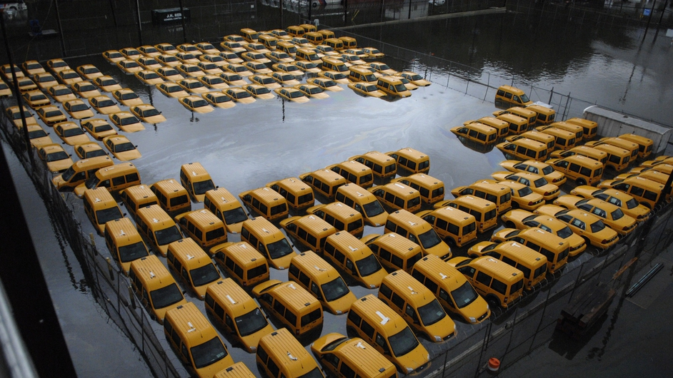 New York taxis sit in a flooded park following flooding from superstorm Sandy
