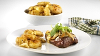 Fillet Steak with Creamy Garlic Mushrooms and Sweet Paprika Roasties - A great classic dish from Paul Flynn for Lidl Ireland