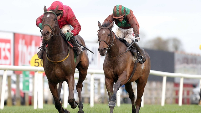 Monksland (l) won over three miles at Leopardstown at the conclusion of 2012