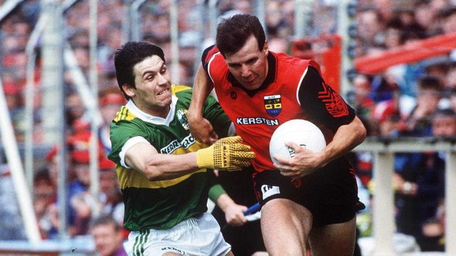 Eamon Burns goes past Kerry's Stephen Stack during the 1991 All Ireland semi-final