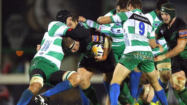Connacht's Nathan White tries to burst past Corniel Van Zyl of Treviso