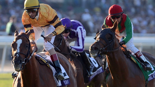 John Velazquez rides Wise Dan to victory ahead of Animal Kingdom and Joseph O'Brien on Excelebration