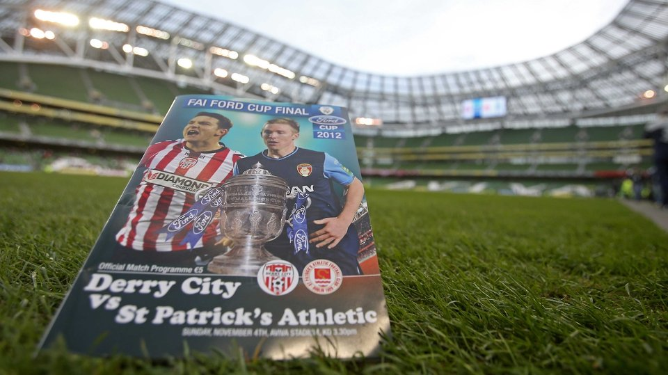 The match programme on the pitch before Derry City and St Patrick's Athletic did battle