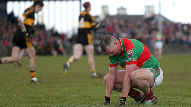 Thomas O'Connor of Kilmurray-Ibrickane shows his dejection at defeat