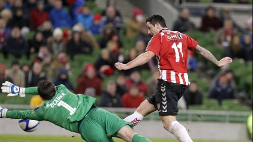 Derry City's Rory Patterson scores the decisive goal in extra time