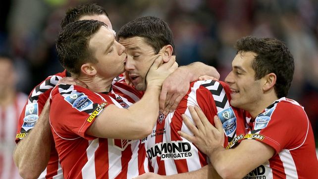 Rory Patterson (c) was the star of the show for Derry City
