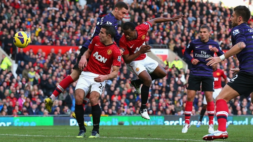 Patrice Evra scores for Manchester United against Arsenal