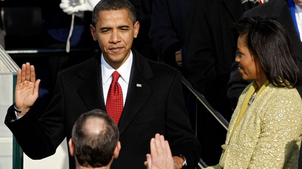 Barack Obama is sworn in as US President in 2009