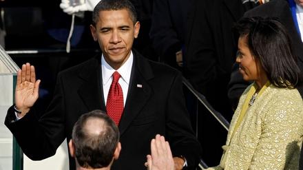 Barack Obama is sworn in as US President in 2009