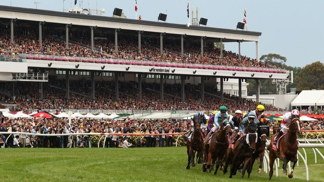 The field rounds the first bend at the Melbourne Cup