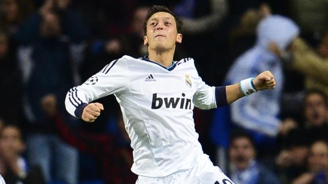 Real Madrid's German midfielder Mesut Ozil scored a late equaliser for the Spanish team