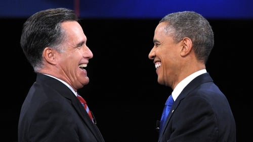 Former presidential election candidates Mitt Romney and Barack Obama become lunch mates