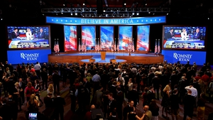 The stage at the Boston Convention & Exhibition Center ahead of Mitt Romney's concession speech