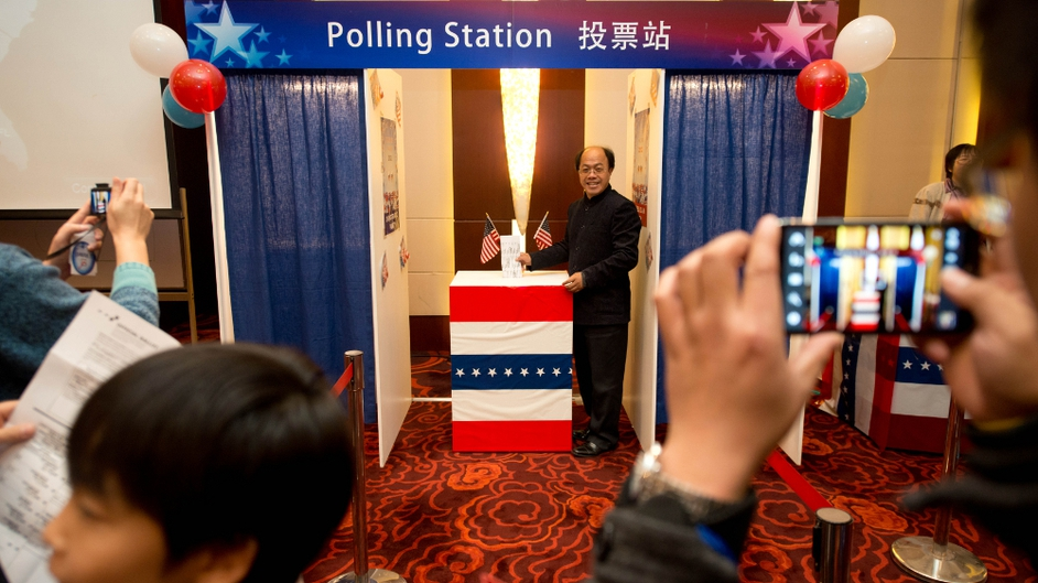US embassy in Beijing organised an election results event, where people could try out a mock polling station